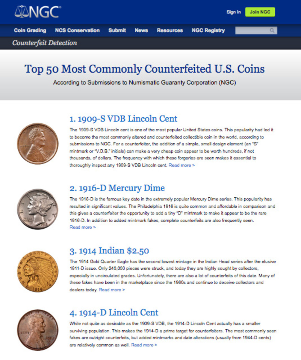 Numismatic Guaranty Corporation's list of the top 50 counterfeits appears on a page of the NGC website.