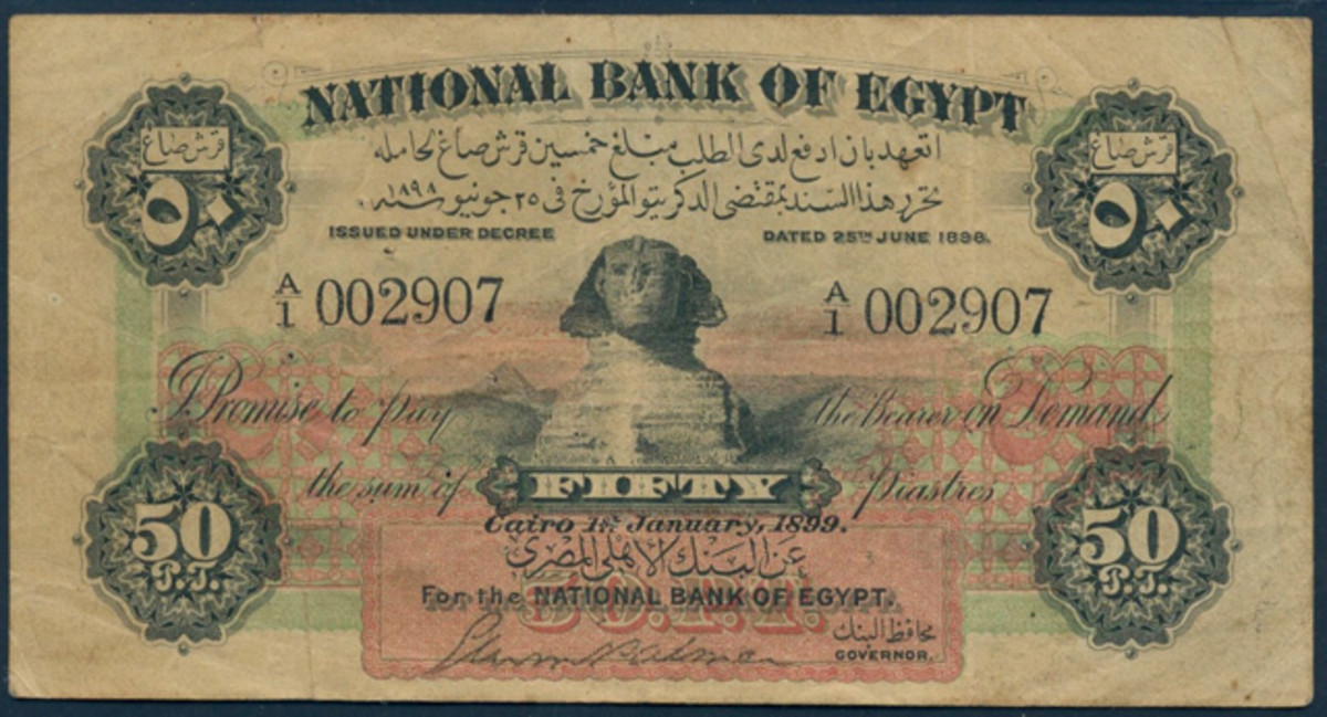 Most highly prized of Smart's National Bank of Egypt notes was this 50 piastres of Jan. 1, 1899, P-1a, with its scarce Palmer signature (insert). In VF it realized $57,528.