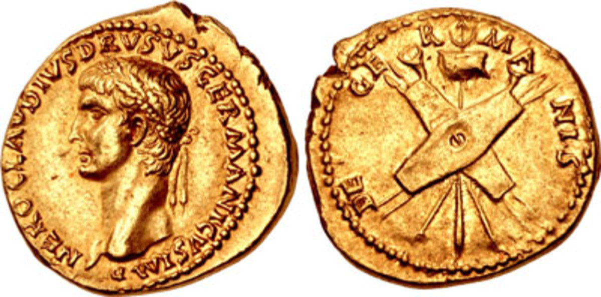 Aureus of Claudius struck in 41-42 C.E. and showing his father Nero Claudius Drusus Germanicus. In EF it realized $56,525. (Image courtesy & © CNG)