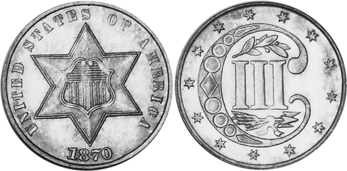 Although just 4,000 1870 three-cent coins were minted, prices remain modest with just a $215 spread between a G-4 example at $335 and a AU-50 piece going for $550.