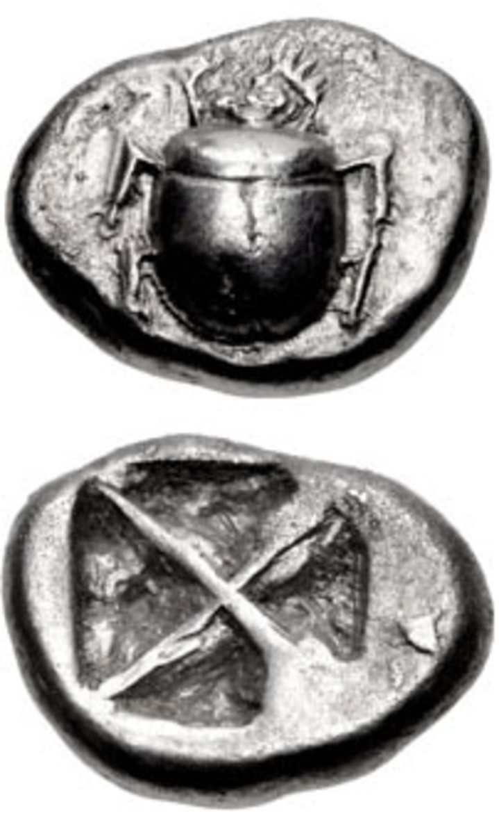 Exceptional Wappenmünzen silver scarab didrachm struck at Athens c. 545-525 B.C.E. It sold at CNG's Sale 105 for $71,400 in gVF. (Image courtesy & © CNG)