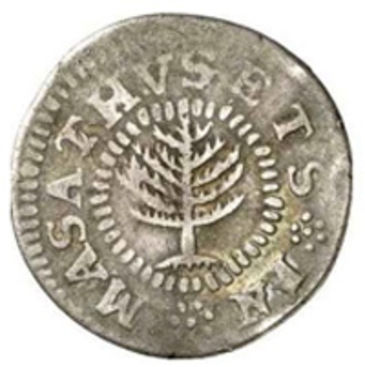 An example of the Massachusetts Pine Tree shilling.
