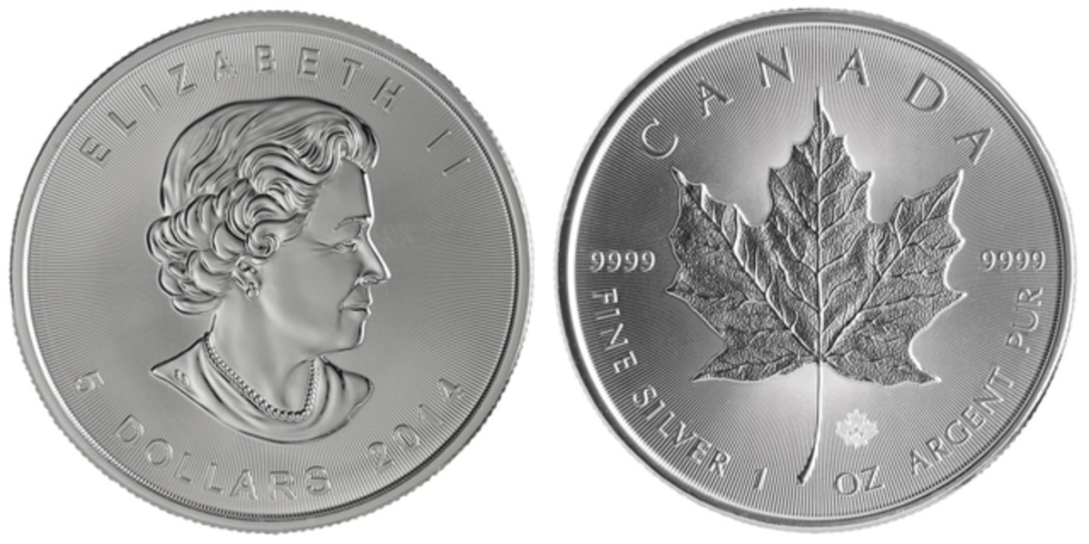 "The 2014 Canadian silver Maple Leaf is the first issue with the new ""DNA"" anti-counterfeiting technology."