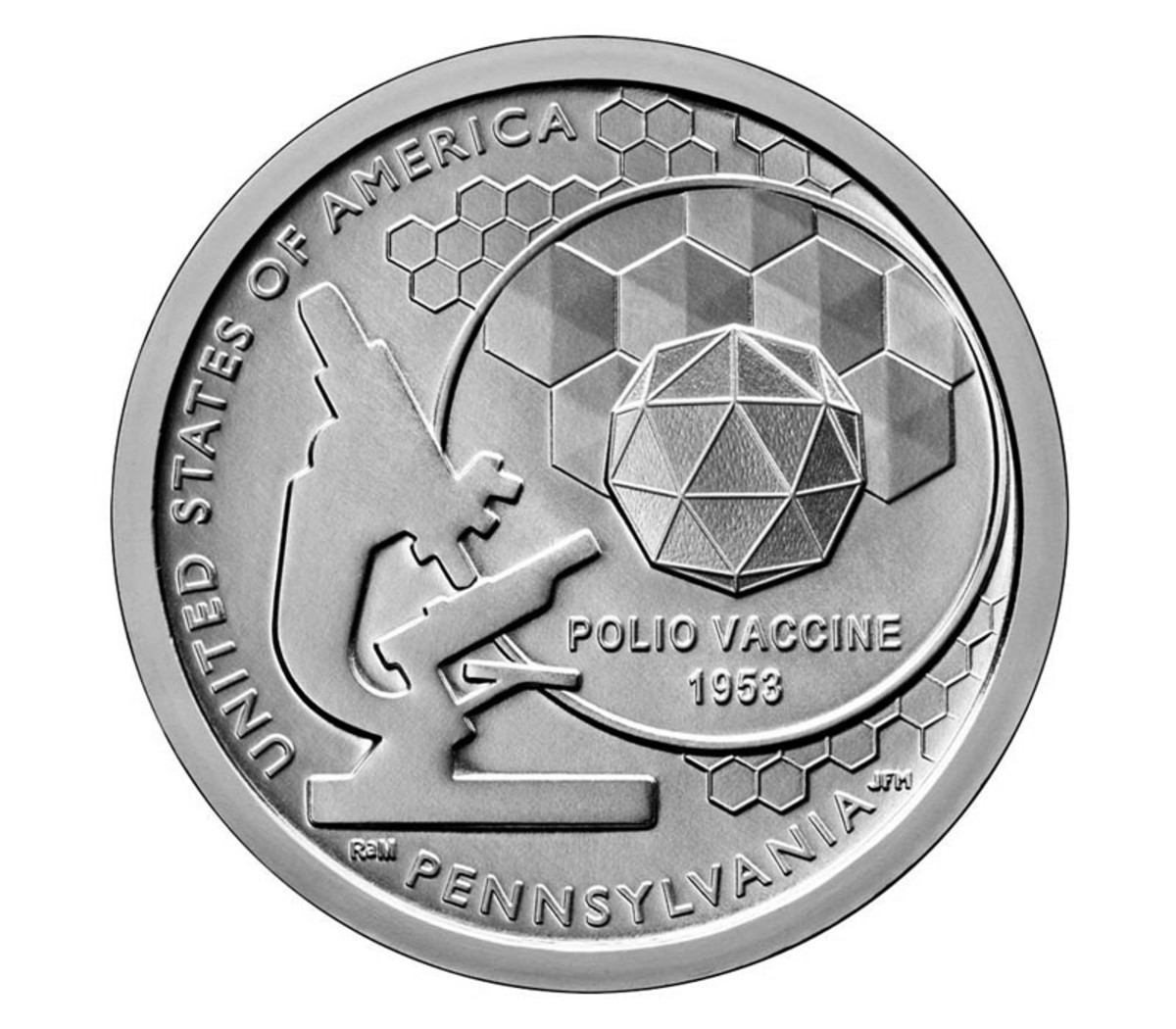 Dr. Jonas Salk and his team developed the polio vaccine. The feat is captured on the Pennsylvania American Innovation $1 coin that becomes available in bags and rolls Oct. 24.