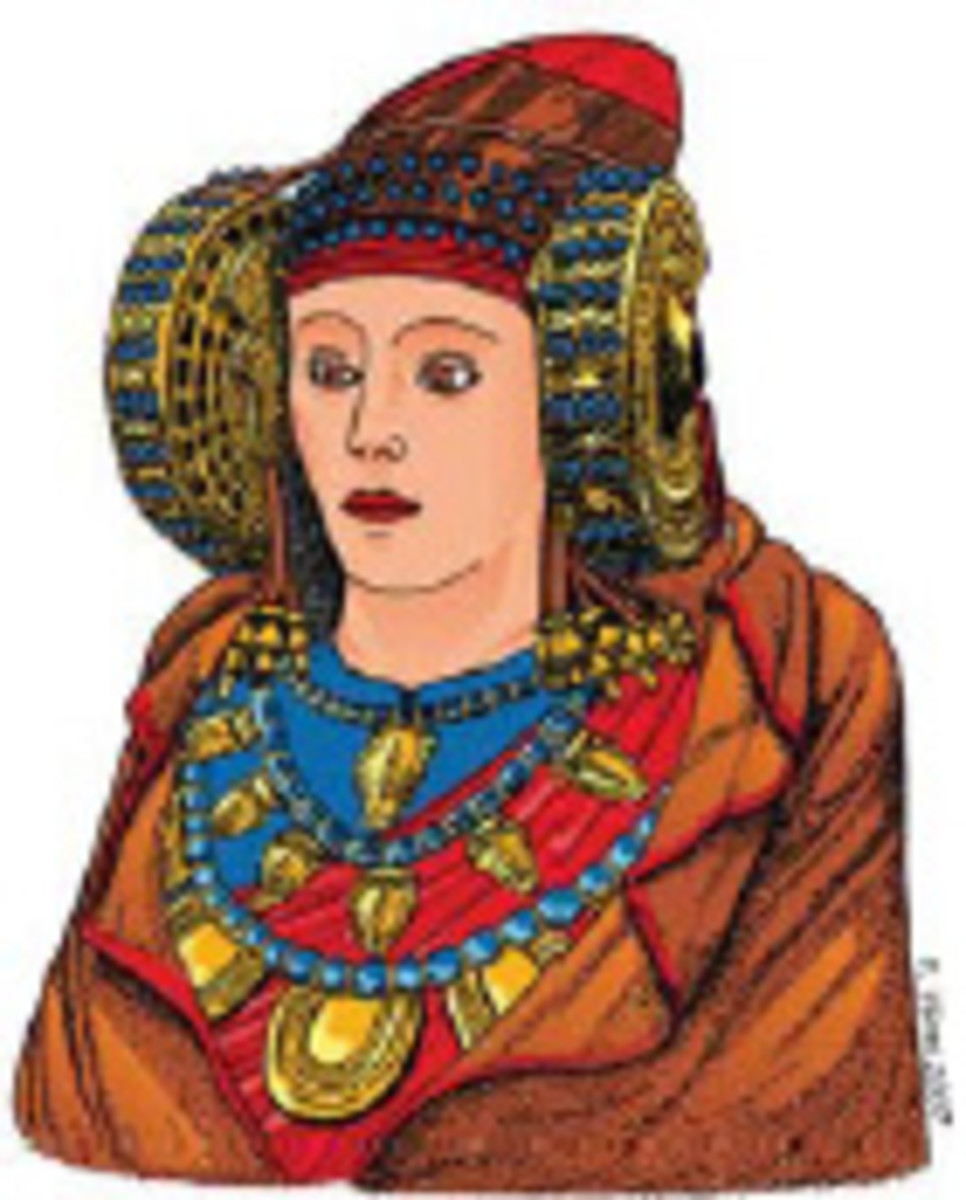 An interpretation of the original colors of the Dame of Elche by Francisco Vives based on analyses made by Salvador Rovira, Museo Arqueológico Nacional. (Image Wikipedia Commons.)
