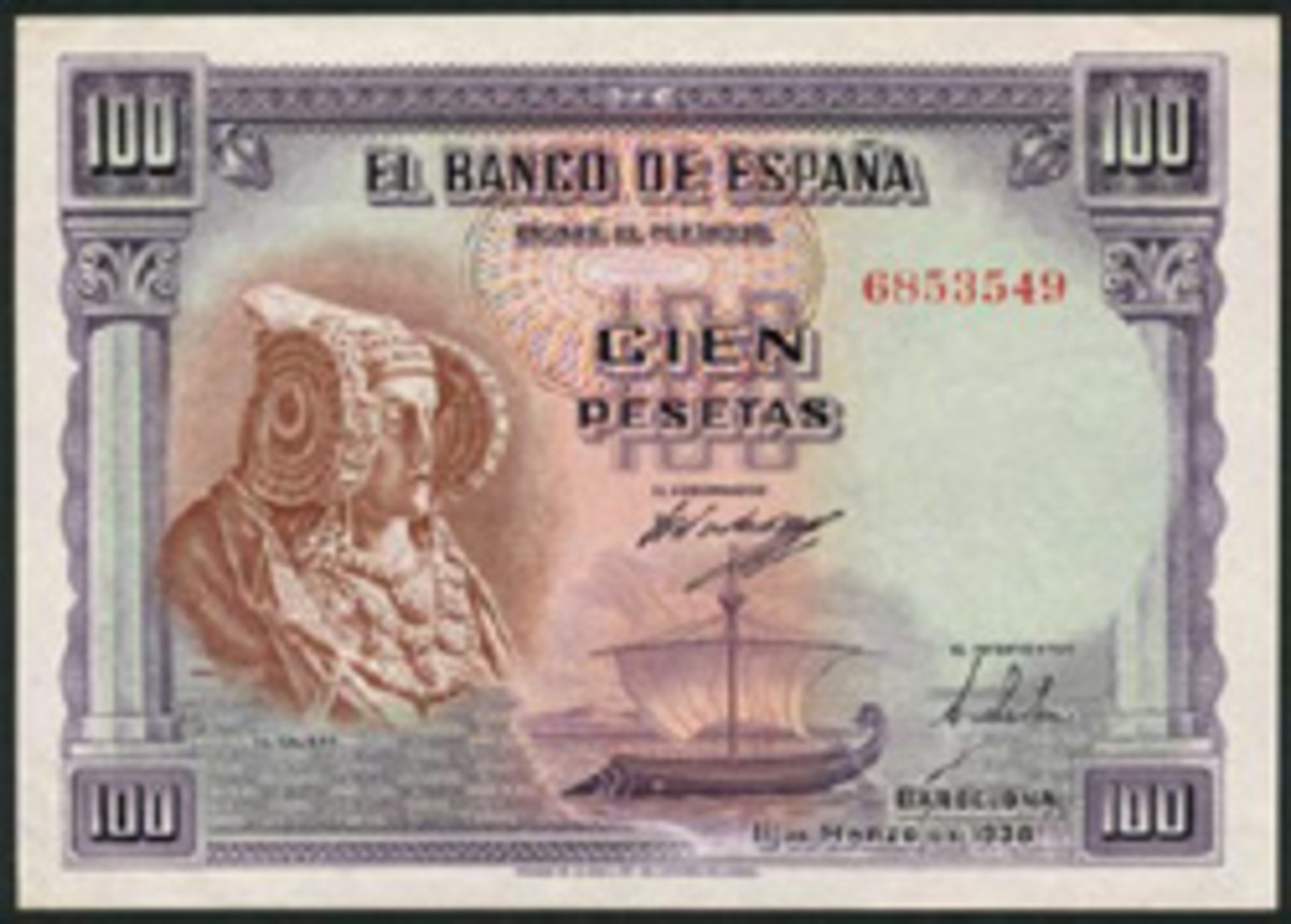 Face of the extremely rare, issued Spanish 100 pesetas, P-90, sold by Spink in April 2103 for $11,383. The Dame of Elche provides the vignette at left. Note the Thomas De La Rue imprint. (Image courtesy Spink.)