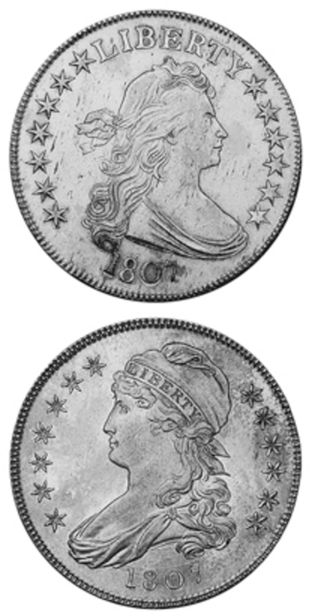 The year 1807 saw production of two half dollar designs: Draped Bust (top) and Capped Bust (bottom).