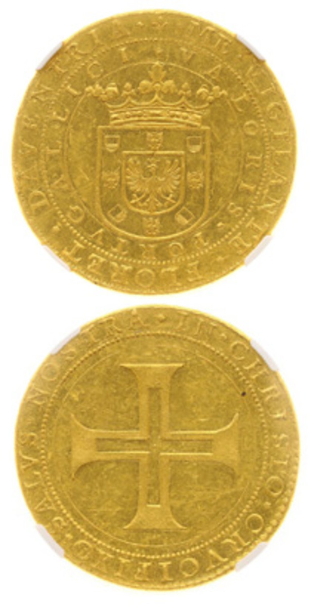 """Obverse and reverse of the gold Dutch """"Portugalöser"""" struck in 1640 by the city of Deventer. It was sold for a record $179,000 by Heritage Auctions Europe in May. The die work and metallurgical content are typical of contemporary coins of the Dutch provinces. (Images courtesy www.ha.com)"""