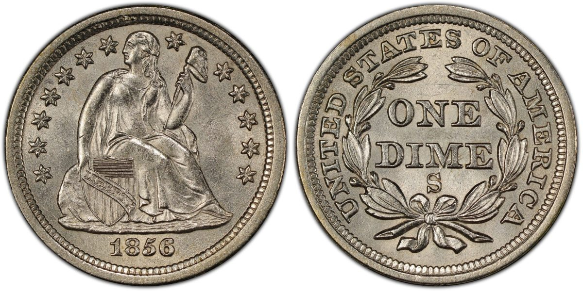 A rare 1856-S Liberty Seated dime recovered from the legendary S.S. Central America, graded PCGS MS65 CAC and tied for finest known, will be offered for the first time in the September 2020 auction by Ira and Larry Goldberg. (Photo credit: Professional Coin Grading Service.)