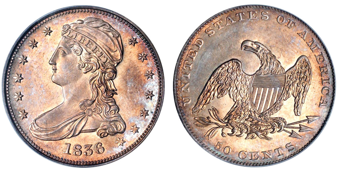 The reeded-edge 1836 half dollar. (Image courtesy of Stack's Bowers)