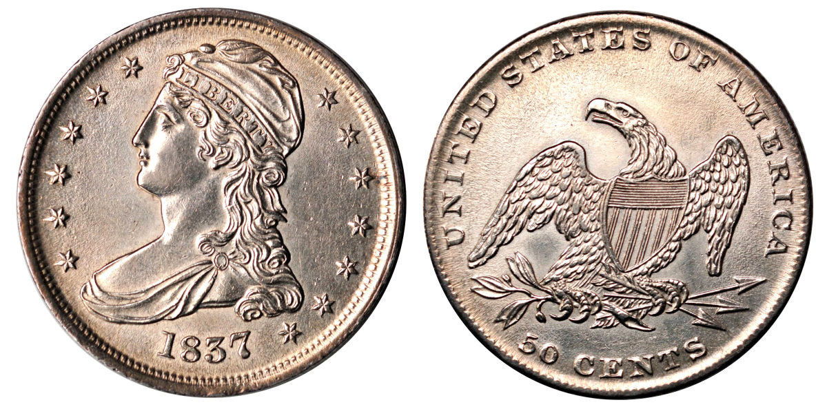 The 1837 half dollar is similar to that of the 1836 except for the slight change in weight and fineness. (Image courtesy of Stack's Bowers)