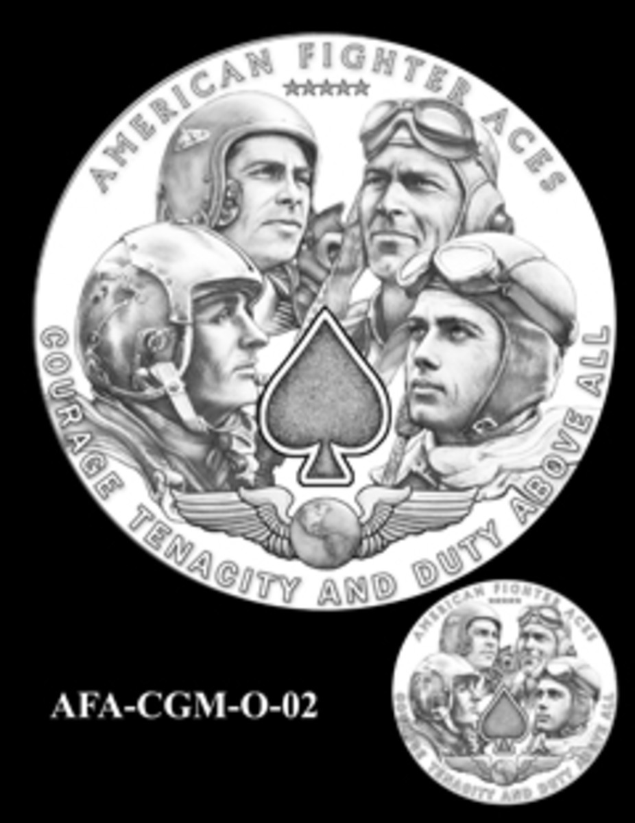 Obverse design number 2, preferred by the Aces association.
