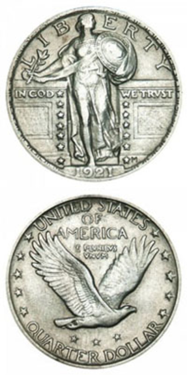 Although its mintage was less than two million, other factors played a greater part in why the 1921 Standing Liberty quarter is tougher than expected. (Images courtesy www.usacoinbook.com)