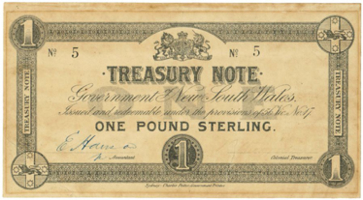 One of just three 1893 Government of New South Wales £1 Treasury notes (PS-1001) in private hands that fetched $9,525 in Australia.
