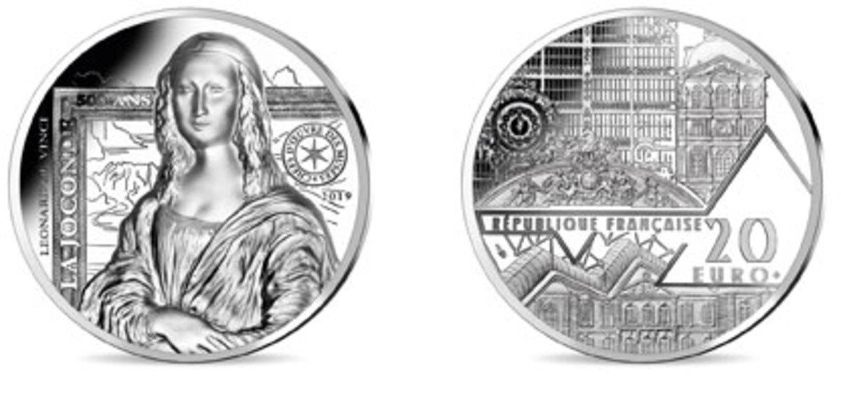 Obverse and reverse of Monnaie de Paris' high relief silver €20 depicting the Mona Lisa. Images courtesy Monnaie de Paris.
