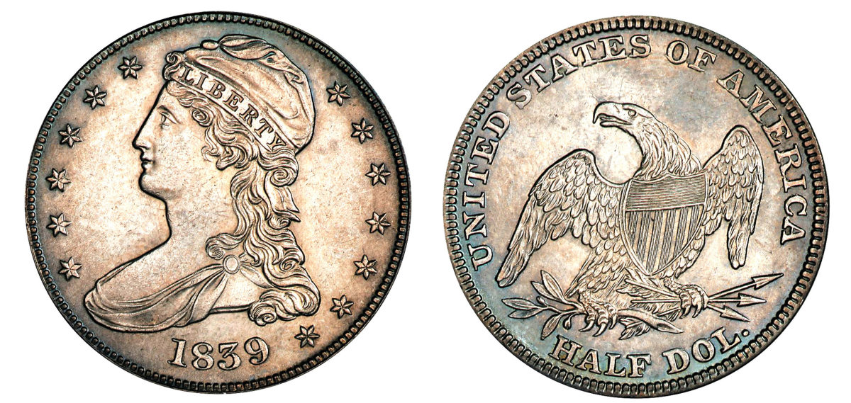 The coins struck in 1838 and 1839 use HALF DOL on the reverse. (Image courtesy of Stack's Bowers)