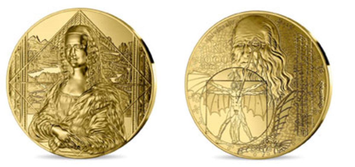 MdP's 1kilo gold €5,000 designed by Joaquin Jimenez showing Mona Lisa on the obverse and Leonardo da Vinci on the reverse. Images courtesy Monnaie de Paris.