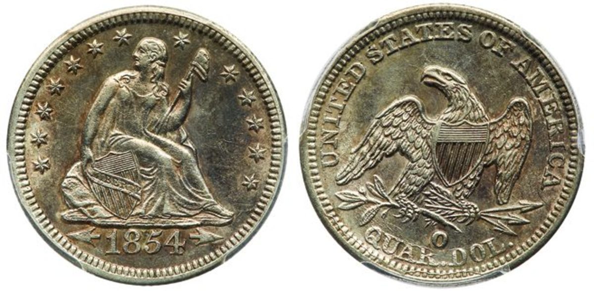 Recovered from the S.S. Central America and among the finest known of its kind, this scarce 1854-O Liberty Seated Arrows at Date silver quarter-dollar Huge Mint Mark variety, graded PCGS AU55 CAC, is in the Goldberg's September 2020 auction. (Photo credit: Lyle Engleson/Goldberg Auctions.)