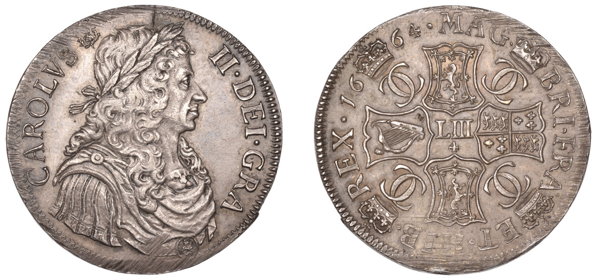 The finest extant example available to collectors of a Charles II Scottish 4 merks, KM104.1, fetched $47,429, ex-Harrington Manville collection. Image courtesy and © DNW.
