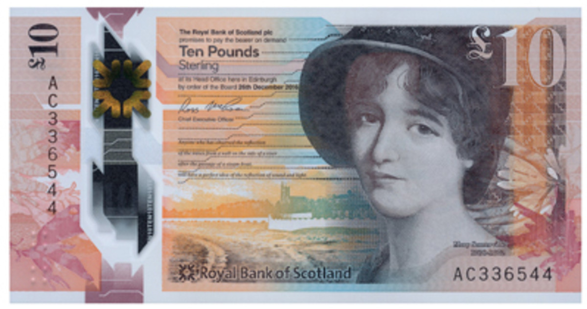 Face of Royal Bank of Scotland's new brown, 132x69 mm, polymer £10 note showing a three-quarter profile of Scottish polymath Mary Somerville. When John Stuart Mill organized a major petition to Parliament asking for women to be given the right to vote, the first signature he sought was that of Mary Somerville. (Image courtesy Trevor Wilkin ex Royal Bank of Scotland)