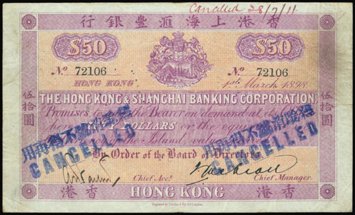 Star of the sale: issued and canceled Hong Kong and Shanghai Banking Corp. $50 of 1898, P-145, that fetched $64,559.