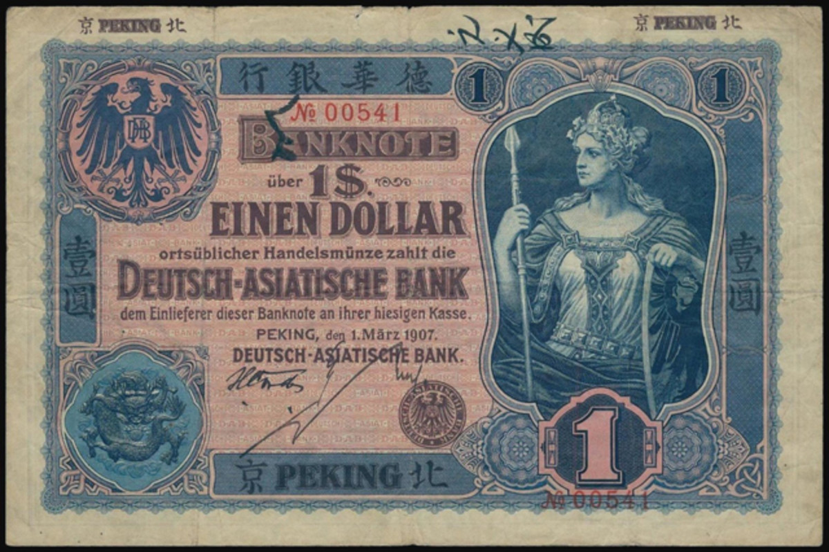 Deutsch-Asiatische Bank $1 of 1907 drawn on Peking, P-S272, that took $7,686 in PMG Very Fine 25.