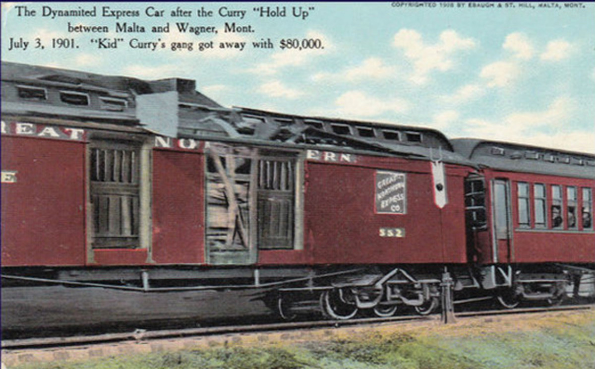Postcard reportedly showing the dynamited express car from the Great Northern rail heist, July 3, 1901, near Wagner, Mont.