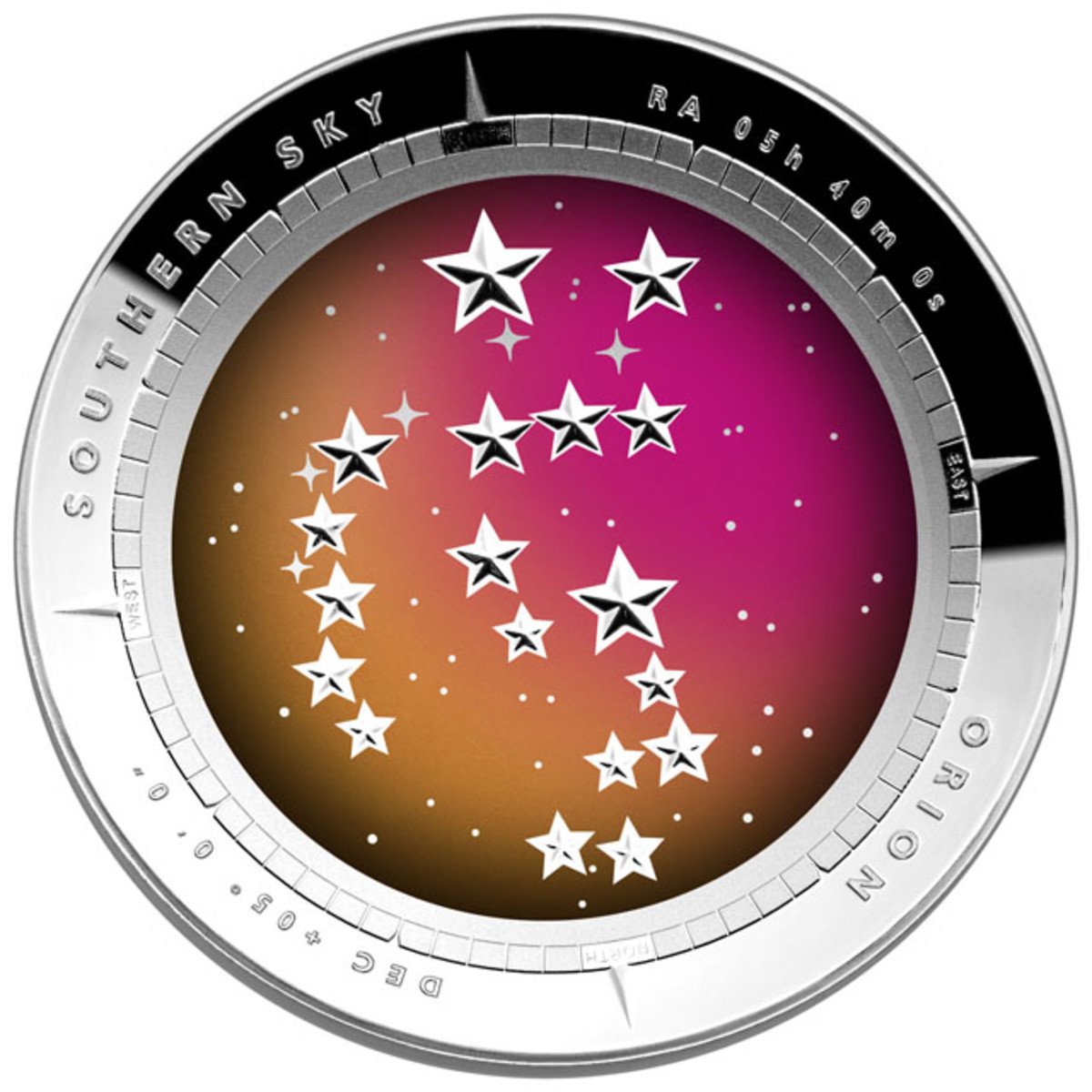 A cupped or dome-shaped coin from the Australian Mint will feature the constellation of Orion. The coin is a silver $5 proof. In Australia, Orion appears to be standing on his head.