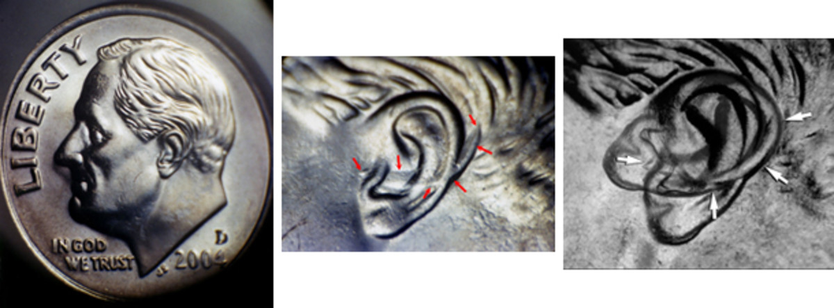 """It's debatable if this 2004-D """"Extra Ear"""" error (middle) is the result of a die clash or hub doubling. Overlay at right."""