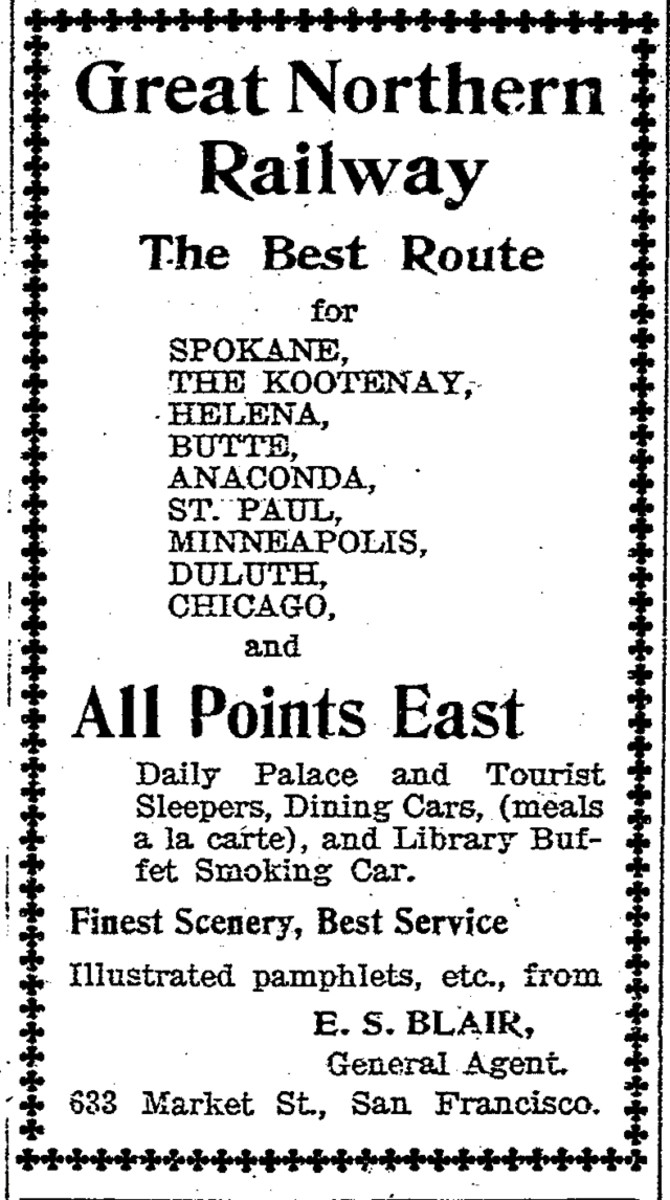 Newspaper ad for the Great Northern Railway showing some of its stops, including Helena, Mont.