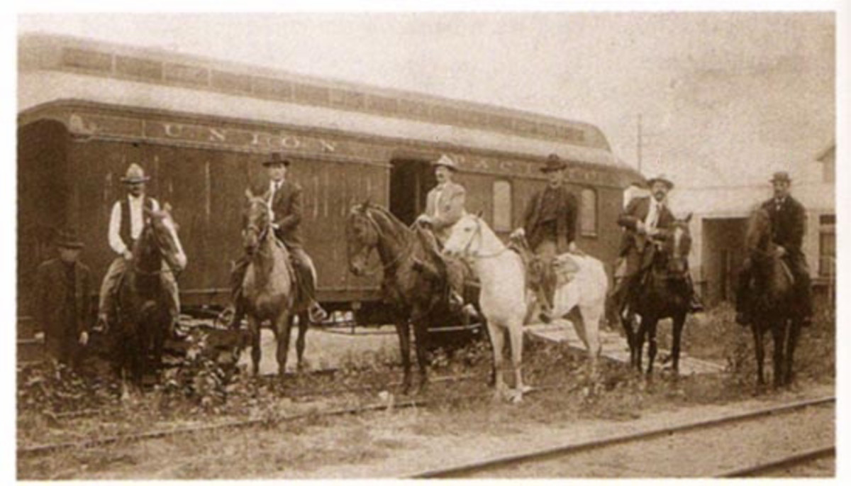 Posse next to a Union Pacific railcar following the June 2, 1899, Wilcox, Wyo. robbery. See p. 76.