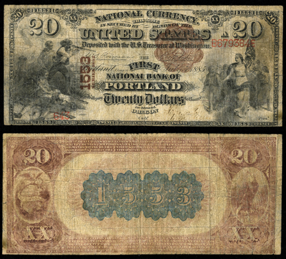 A $20 Brown Back on The First National Bank of Portland, Ore., of the type stolen in the Union Pacific heist on June 2, 1899 near Wilcox, Wyo. Courtesy Heritage Auctions.