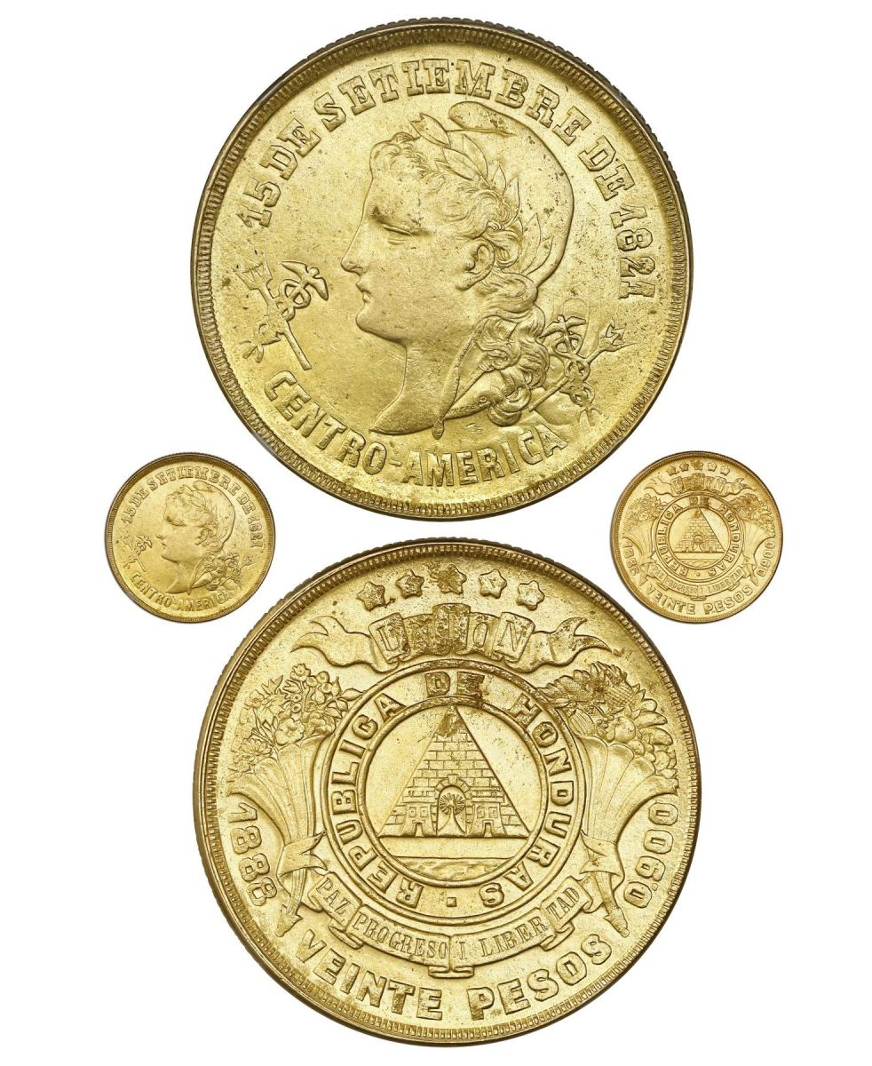 Lot 942, a Honduras 20 pesos that was most likely struck in a token amount for a political reason rather than for practical circulation use.