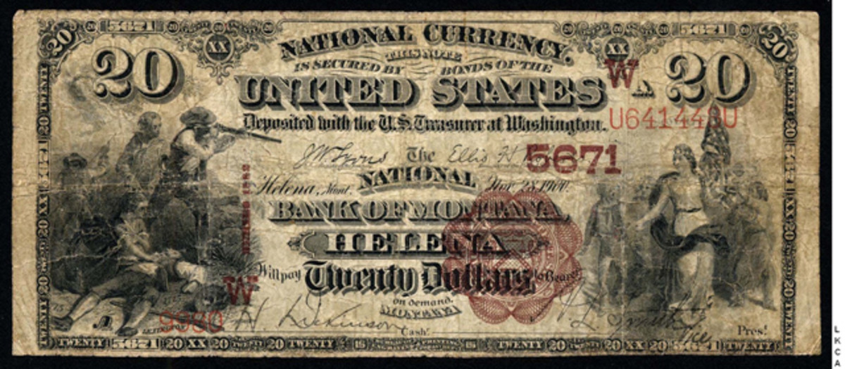 A $20 note from The National Bank of Montana, Helena, Mont. Courtesy Lyn Knight Currency Auctions.