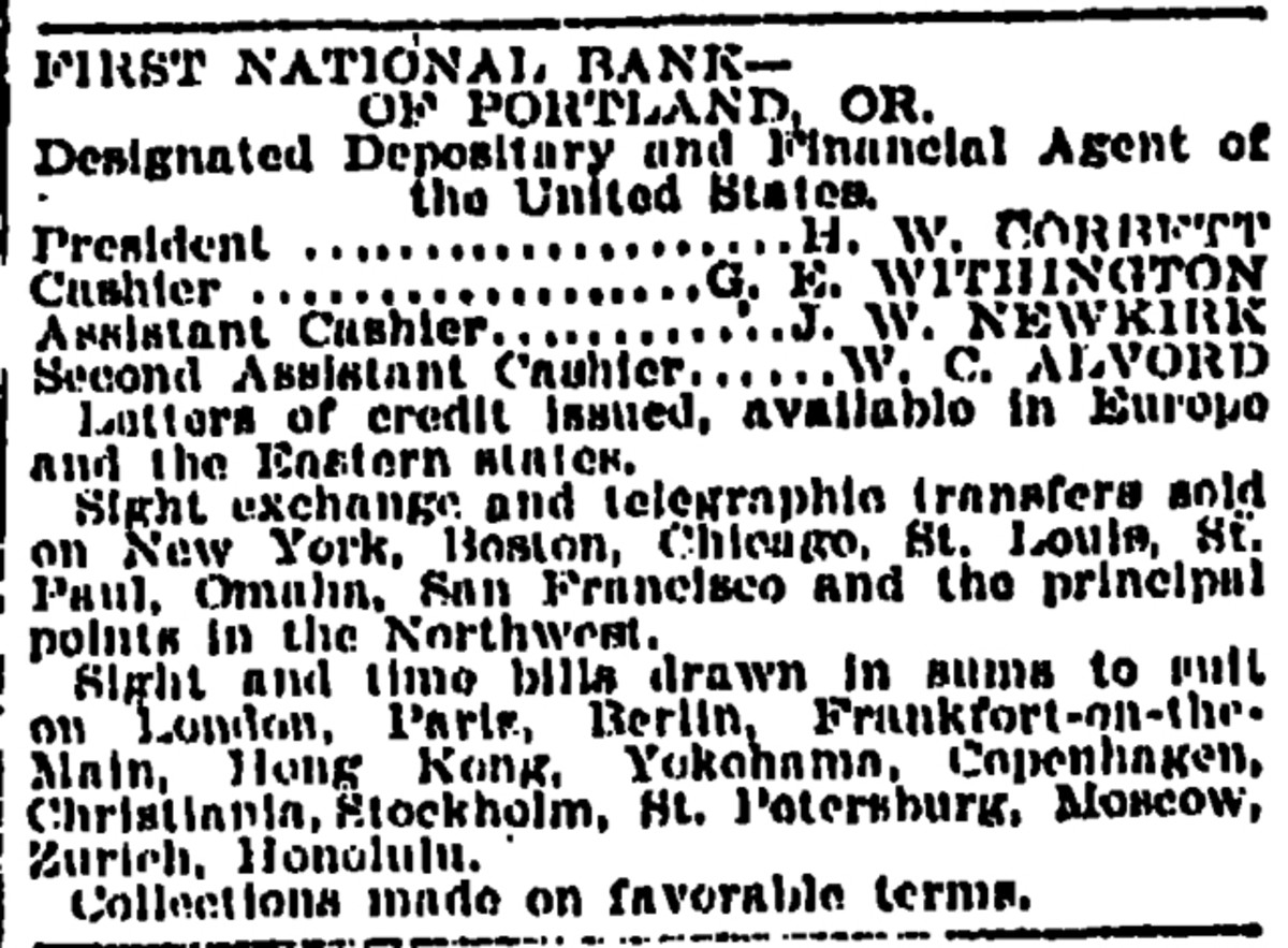 An advertisement for The First National Bank of Portland—one of the bank's whose notes were taken in the Wilcox, Wyo., train robbery. The Oregonian, Portland, Feb. 4, 1899.