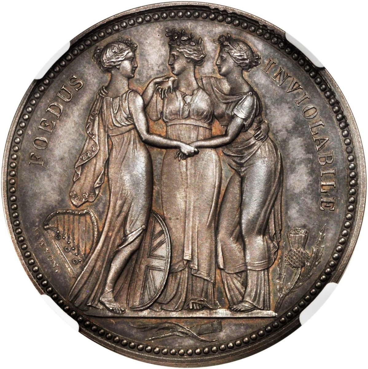 Beauty personified: reverse of William Wyon's Three Graces proof pattern silver crown of 1817. The coin goes to the block in NGC-PR64+ Cameo with an estimate of $130,000-170,000. Image courtesy Stack's-Bowers.