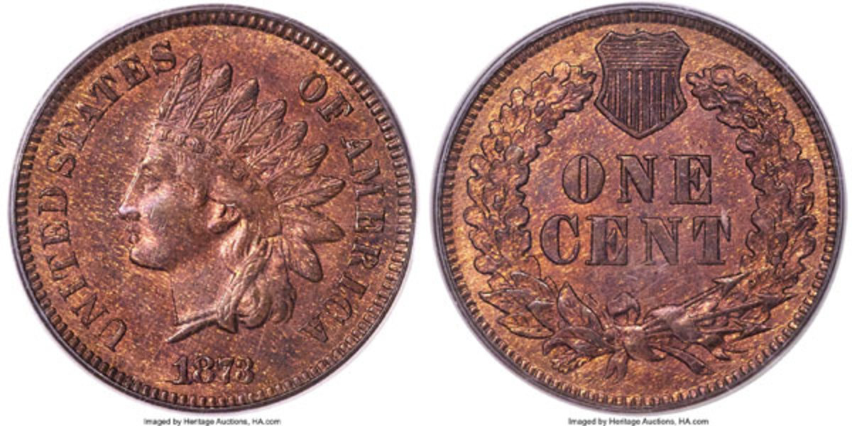 1873 Cent, MS65 Red and Brown.  Snow-1, FS-101, Doubled LIBERTY.  Tied atop the condition census. (Image courtesy of Heritage Auctions)