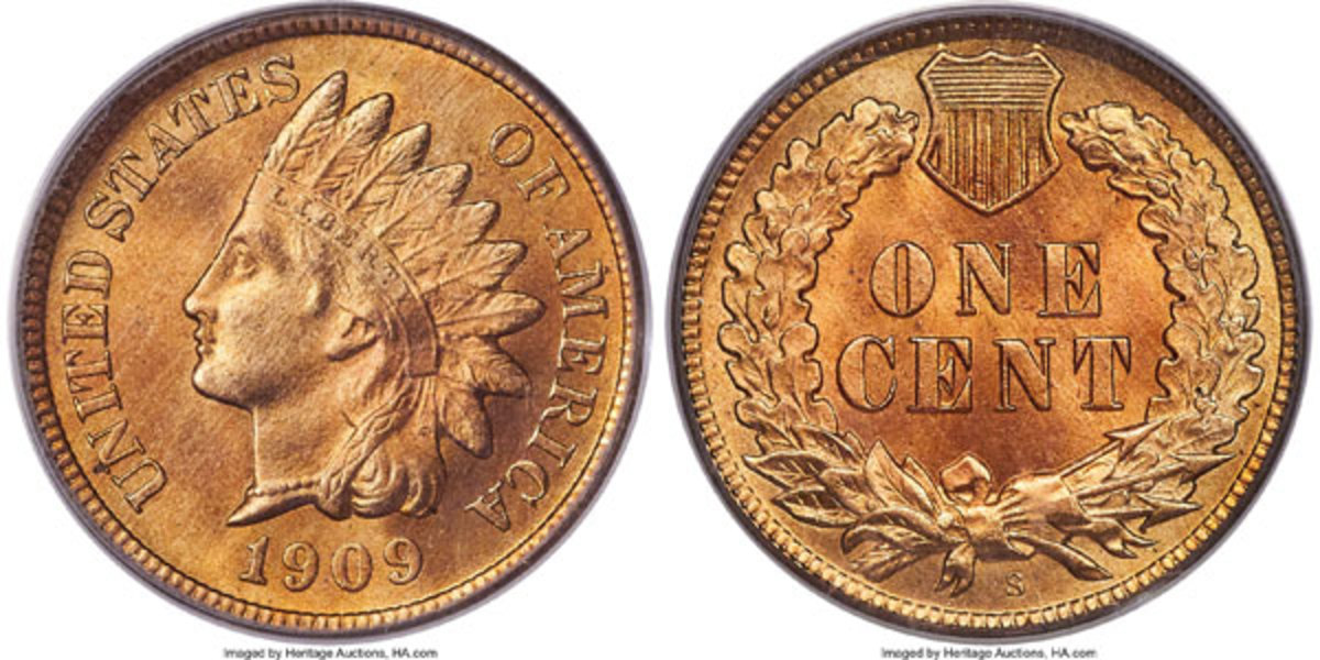 1909-S Indian Cent, MS67 Red.  The only superb gem at either service.  While contemporary collectors have been bee provided several circulating low-grade Mint state examples, the 1909-S with rare full Red color, remains rare in grades exceeding MS64. (Image courtesy of Heritage Auctions)