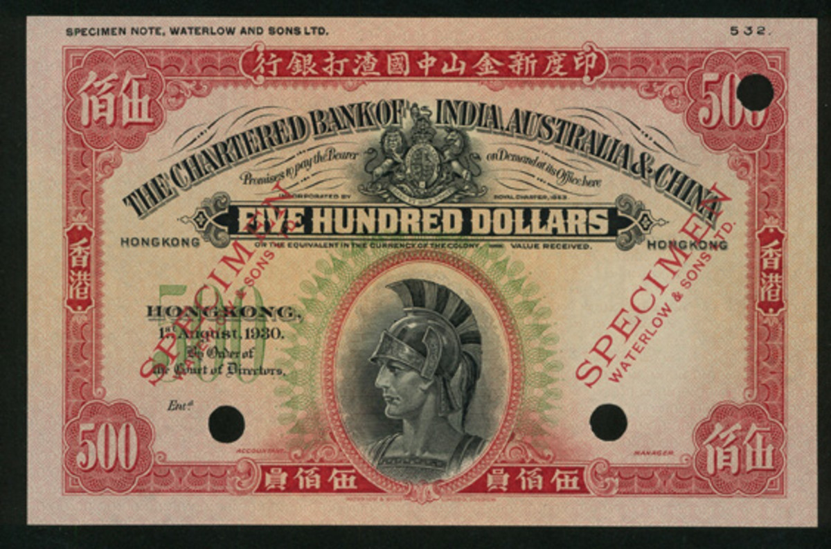 Nicknamed The Big Roman, this Chartered Bank of India, Australia and China $500 false color specimen dated 1 August 1930 (P-58cs) is another standout offering. In high-grade aUNC, it goes to the block with an estimate of $45,000-50,000. (Image courtesy and © Spink, China)