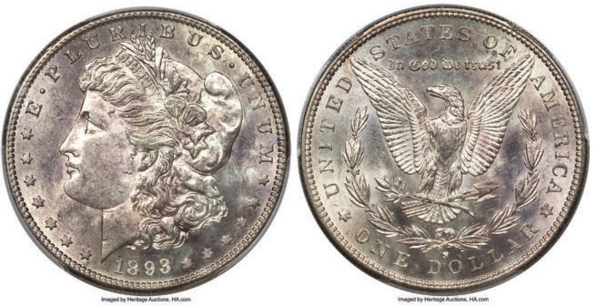 (above) Also bringing in $204,000 is an 1893-S Morgan dollar in MS-61 condition.  (Image courtesy of Heritage Auctions)
