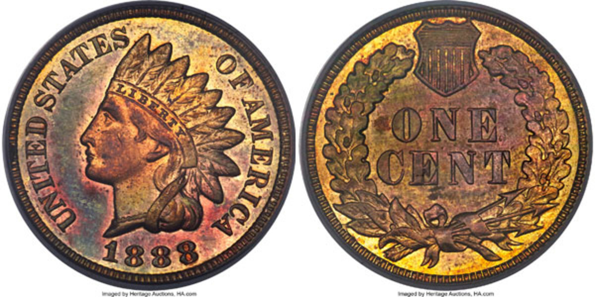 1888/7 Cent, MS64 Red and Brown:  Colorful, Semiprooflike Snow-1, FS-301 coin.  It's the single finest certified.  The variety features clear remnants of an underlying 7 above and below the last 8 in the date. (Image courtesy of Heritage Auctions)
