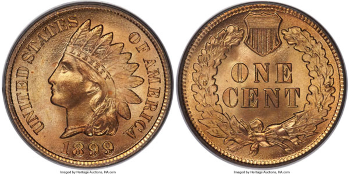 1899 Indian Cent, MS68 Red.  The finest coin in the series.  Both sides appear to be blemish-free with fabulous mint luster. (Image courtesy of Heritage Auctions)