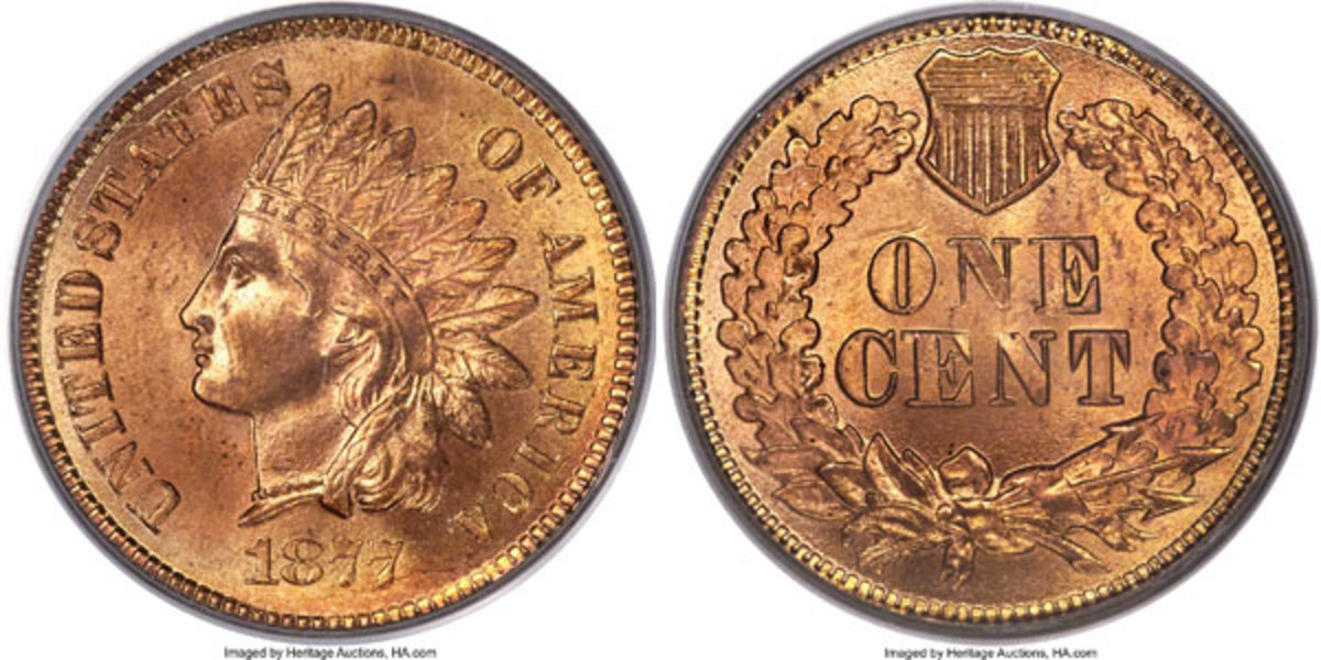 1877 Indian Cent, MS66 Red.  This example is tied for the finest known of this key issue.  (Image courtesy of Heritage Auctions)
