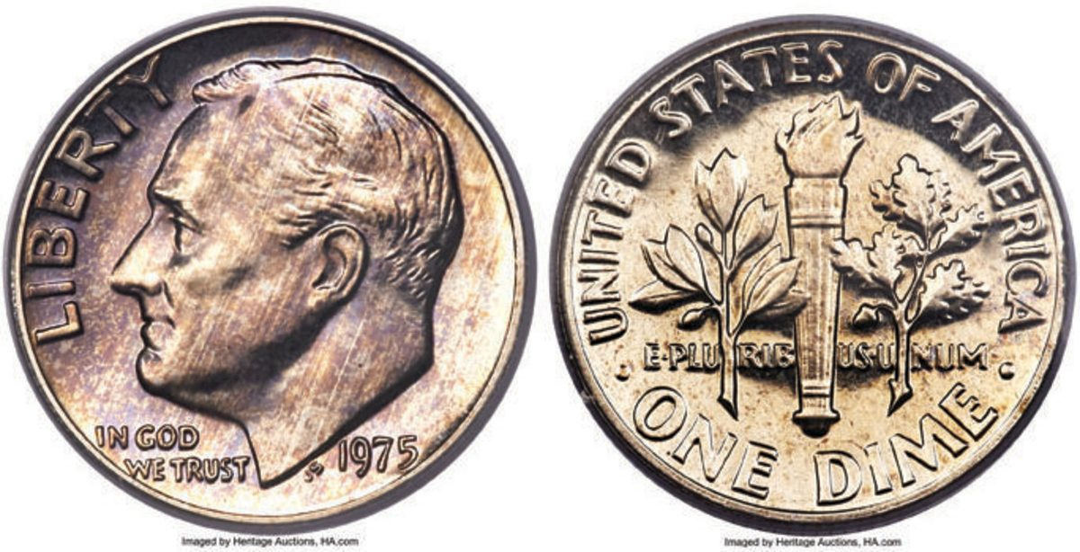 The finest 1975 No S dime known, the coin realized $456,000.  In 2011, a sale was reported in a Stack's Bowers auction for this coin of $359,600. (Image courtesy of Heritage Auctions)