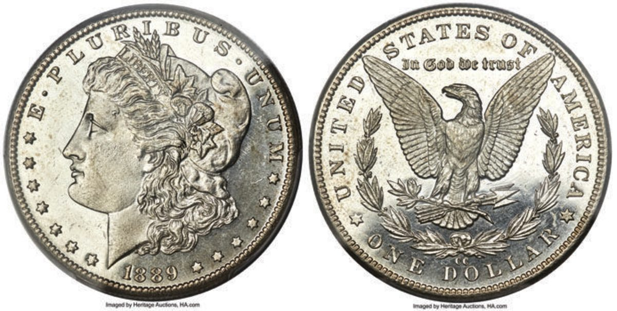 (left) From the Shucart Family (JHS) Collection of Morgan Silver Dollars, this 1889-CC sold for $204,000. (Image courtesy of Heritage Auctions)