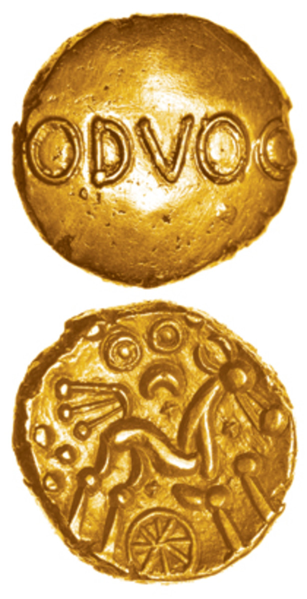 Gold stater of Bodvoc, c.25-5 B.C.E. that sold for $8,515. (Images courtesy Celtic Coins)