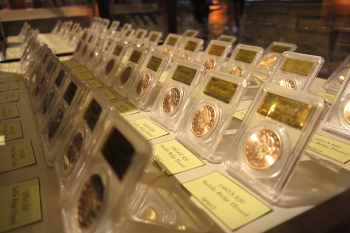 These 60 coins from the Saddle Ridge Hoard were displayed at an auction to benefit the second San Francisco Mint renovation project.