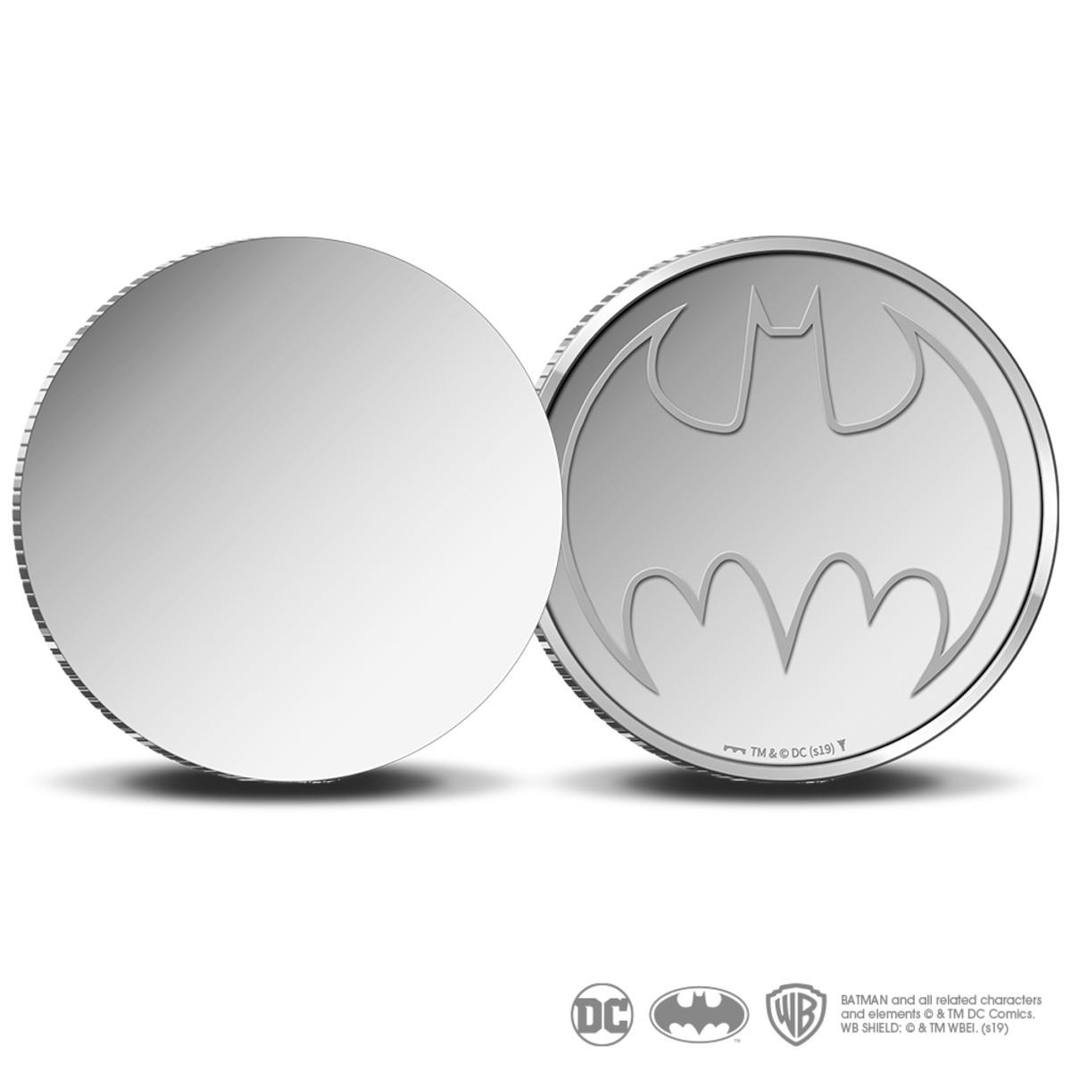 Reverse and seemingly blank obverse of Koninklijke Nederlandse Munt's Batman stainless steel round struck to mark the masked avenger's 80th birthday. Image courtesy Koninklijke Nederlandse Munt.