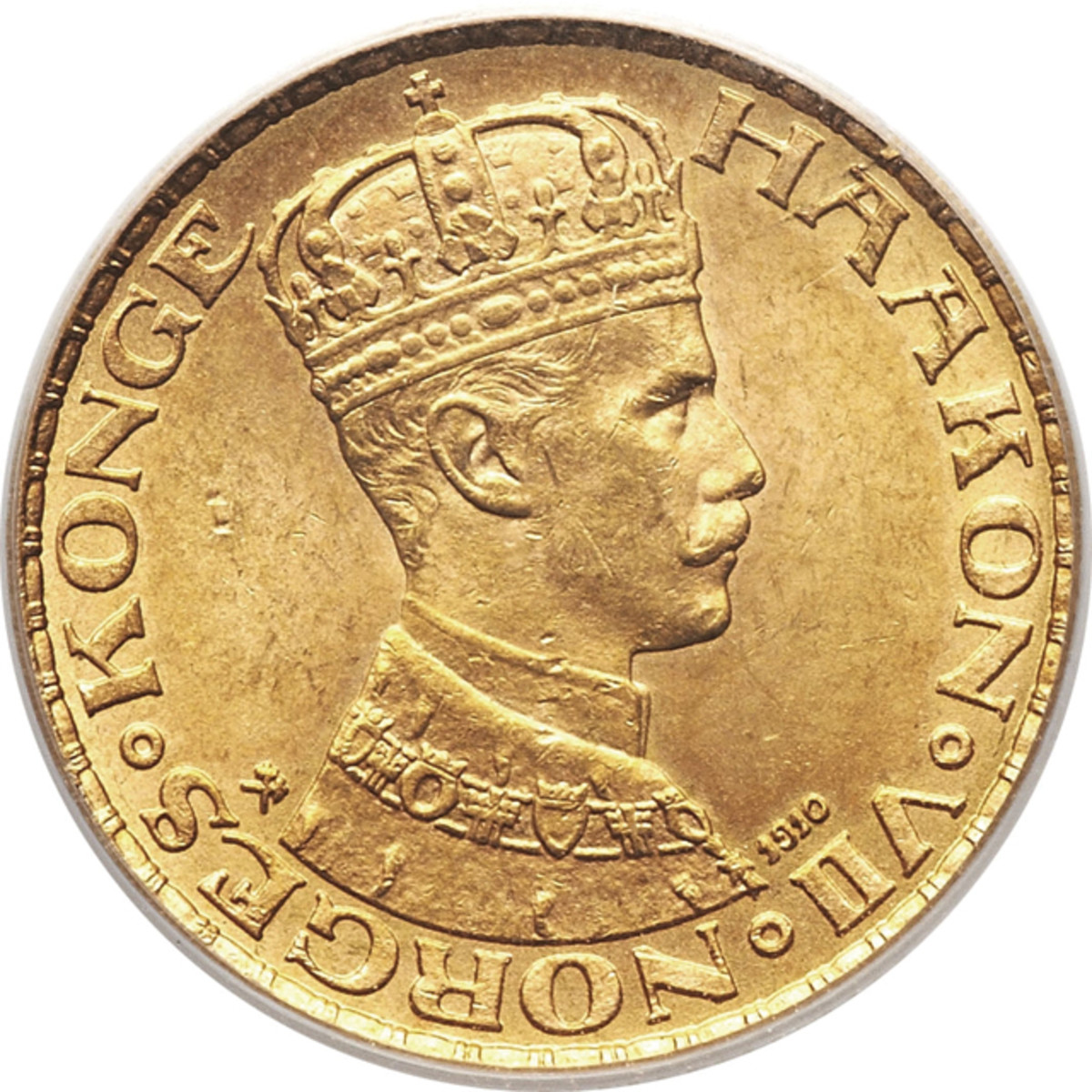 The gold coins would have included many 10 kroner of 1910, KM-375, issued in the name of Haakon VII. At the time of the invasion he threatened abdication if his government cooperated with the Germans.