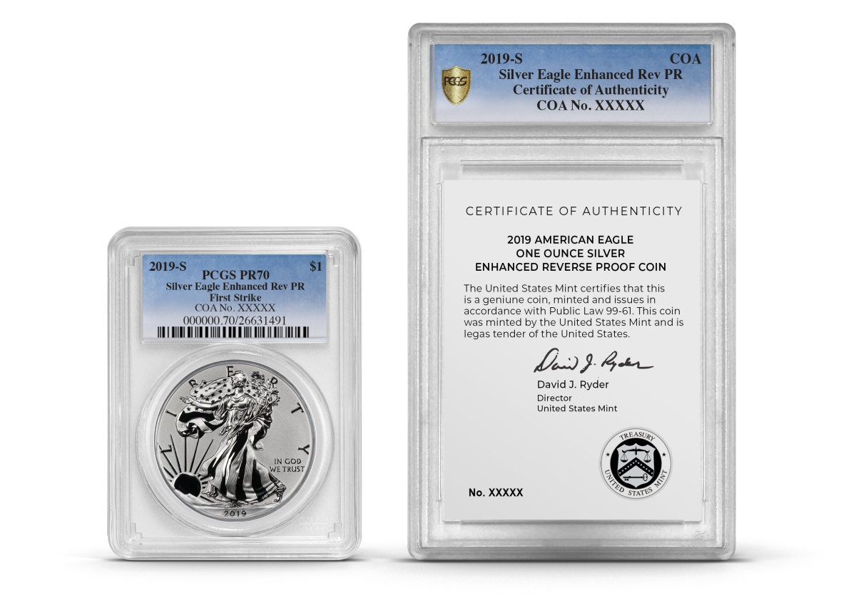 An artist's rendition of the new PCGS dual encapsulation of a 2019 Reverse Proof American Silver Eagle and accompanying United States Mint Certificate of Authenticity. (Image credit: Professional Coin Grading Service www.PCGS.com.)